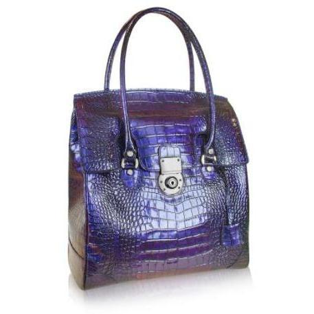 L.A.P.A. Handtasche aus purpurfarbenem Krokoleder