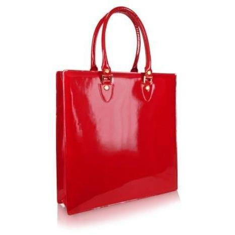 L.A.P.A. Handtasche aus rubinrotem Lackleder