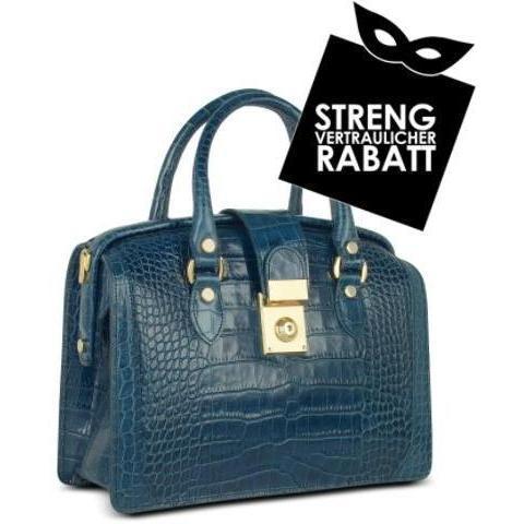 L.A.P.A. Handtasche im Doktorstyle aus italienischem Leder mit Krokoprägung in blau