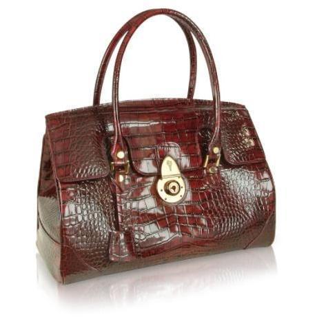L.A.P.A. Rubinrote Handtasche aus Leder mit Krokodilprägung