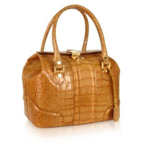 L.A.P.A. Sandfarbene Handtasche aus Leder mit Krokodilprägung