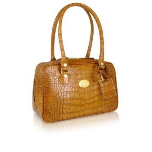 L.A.P.A. Sandfarbene Handtasche aus Leder mit Krokodilprägung lange Henkel