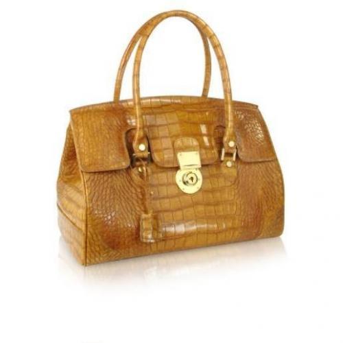 L.A.P.A. Sandfarbene Handtasche aus Leder mit Krokodilprägung Sicherheitsverschluss