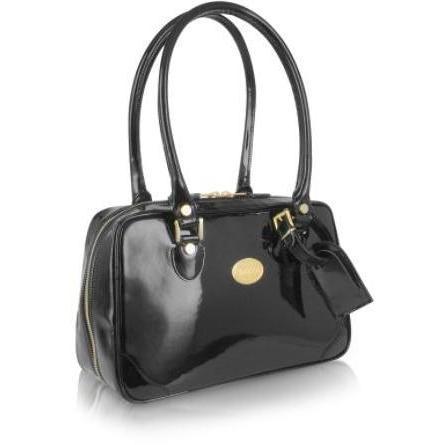 L.A.P.A. Schwarze Handtasche aus Lackleder