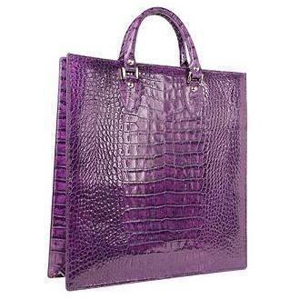 L.A.P.A. Violette Kroko-Lederhandtasche im Shopperstil mit Beutelchen