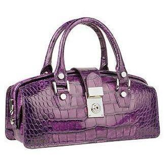 L.A.P.A. Violette Mini-Tasche im Doktorstil aus Leder mit Krokodilprägung