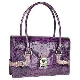 L.A.P.A. Violette Schultertasche aus krokogeprägtem Leder mit Schnallen