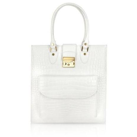 L.A.P.A. Weiße Handtasche aus Leder mit Krokodilprägung