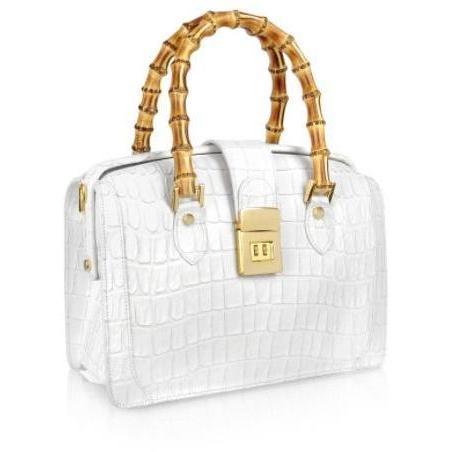 L.A.P.A. Weiße Handtasche mit Bambusgriffen im Doktorstil aus Leder mit Krokodilprägung