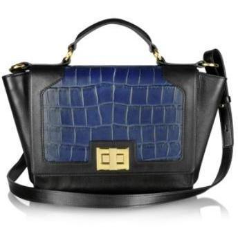 Leonardo Delfuoco iPad-Tasche aus krokogeprätem Leder in schwarz & blau