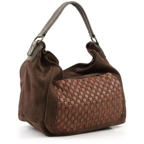 Liebeskind Braided Strap Lana Beuteltasche Leder saddle brown