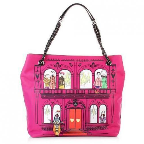 Love Moschino Borsa Satin Fuxia Stampa House