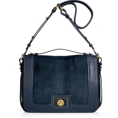 Marc by Marc Jacobs Darkest Teal Leather/Haircalf Top Handle Bag