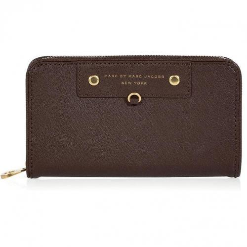Marc by Marc Jacobs Deepest Brown Large Zip Around Wallet
