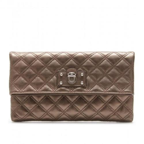 Marc Jacobs Large Eugenie Lederclutch Pearl Bronze Nickel