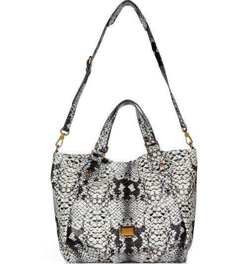 Marc Jacobs Tote Bag Python Print Pale Khaki