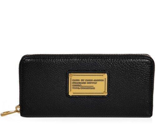 Marc Jacobs Schwarze Classic Q Core Slim Zip Portemonnaie