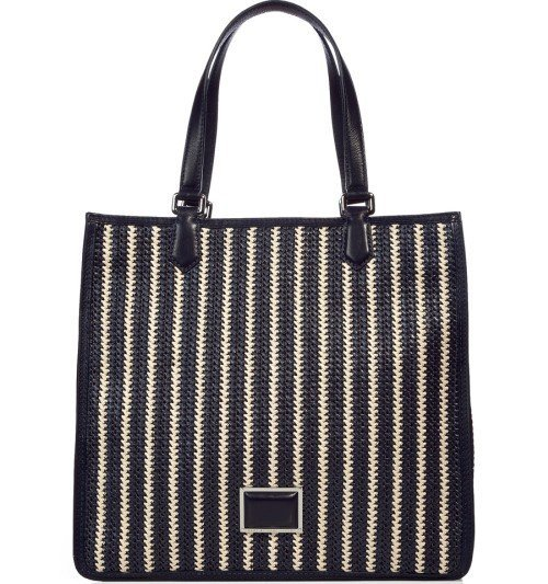 Marc Jacobs Tote Bag Strohtasche Navy/White Striped