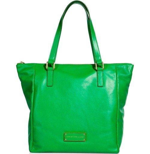 Marc Jacobs Leder Tote Bag grasgrün