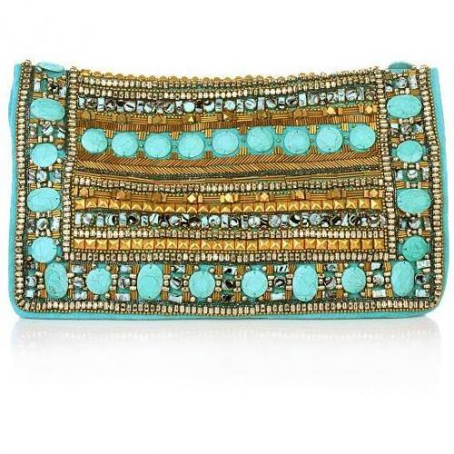 Matthew Williamson Demask Fully Breaded Clutch Turquoise