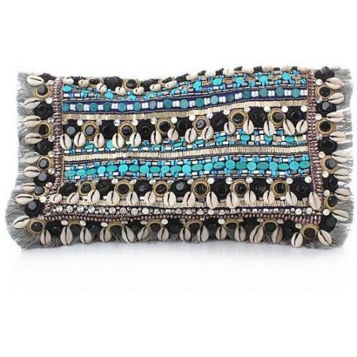 Matthew Williamson Large Embroidered Suede Clutch Blue