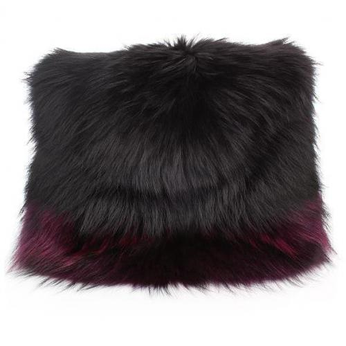 Matthew Williamson Racoon Fur Shoulder Bag Aubergine/Black