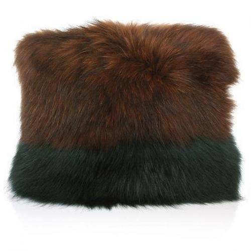 Matthew Williamson Racoon Fur Shoulder Bag Hazelnut/Petrol Green