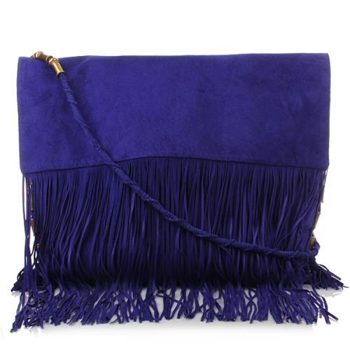 Matthew Williamson Suede Fringe Shoulder Bag Blue