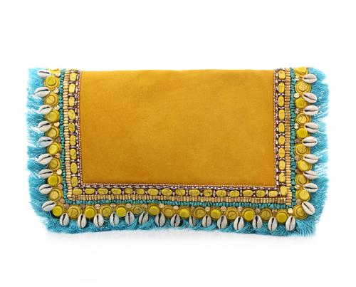 Matthew Williamson Small Embroidered Suede Clutch Yellow