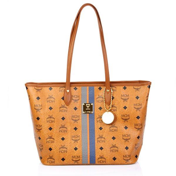 MCM Air Collection Shopper Medium Cognac Blue