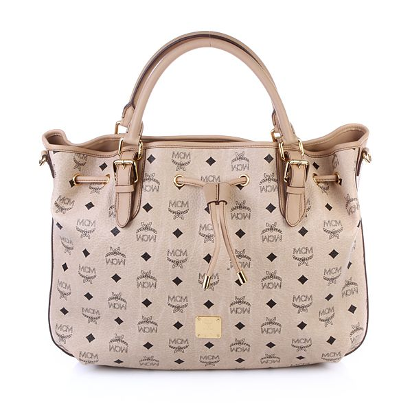 MCM Shopper Visetos Vintage Draw Medium Beige