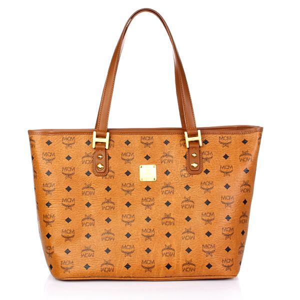 MCM Heritage Zip Shopper Mittel Cognac