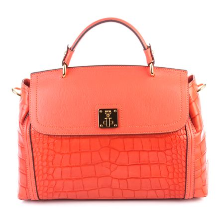 MCM Grace Croco Tote Medium Orange