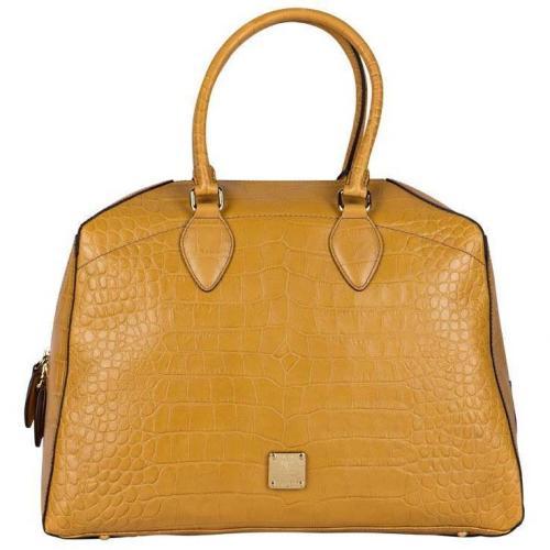 MCM Bowling-Bag Firstlady Croco Gelb