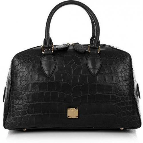 MCM First Lady Croco Boston Small Black
