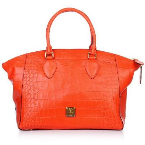 MCM First Lady Croco Tote Medium Orange