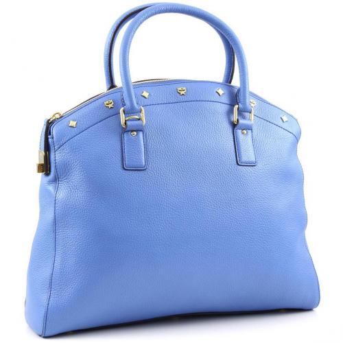 mcm first lady ns bowler m henkeltasche leder blau. Black Bedroom Furniture Sets. Home Design Ideas