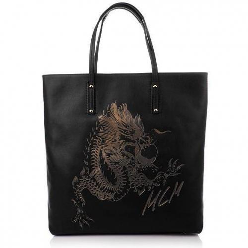 MCM Flying Dragon Leather Shopper Black