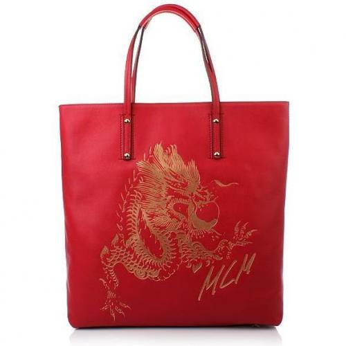 MCM Flying Dragon Leather Shopper Red