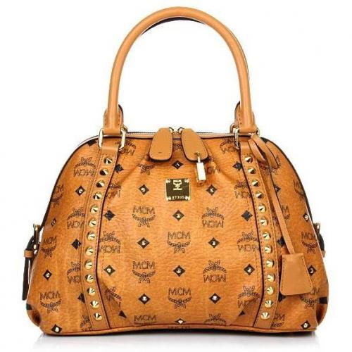 MCM Funk Rock Luxury Boston Small Cognac