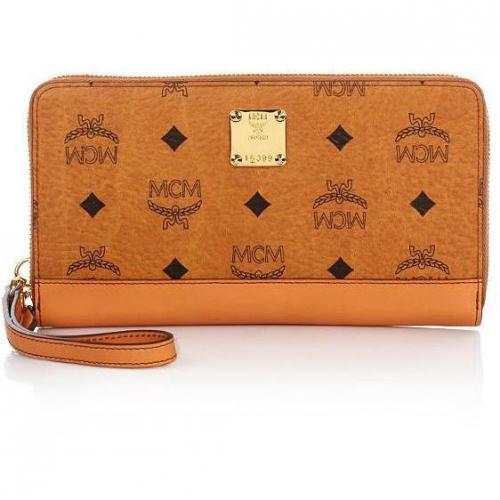 MCM Heritage Orginal Zipped Wallet Cognac