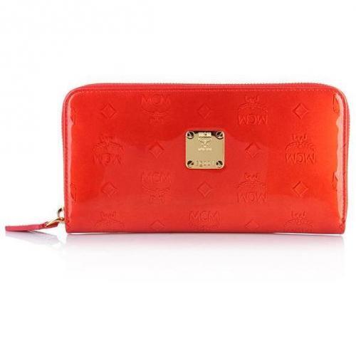 MCM Ivana Patent Zipped Wallet Large Orange