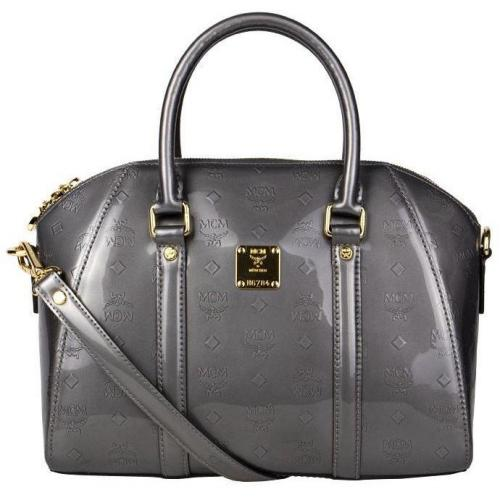 MCM Lack-Bowling-Bag Ivana Patent Grau