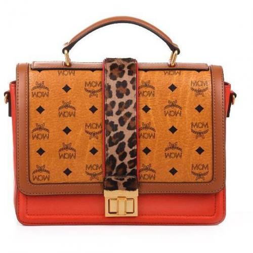 MCM Little Veronika Visetos Satchel Medium Orange