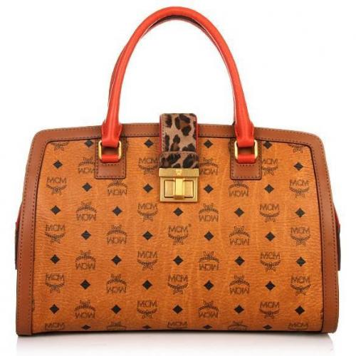 MCM Little Veronika Visetos Tote Large Orange