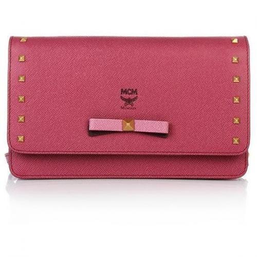 MCM Mina Crossbody Wallet Large Pink