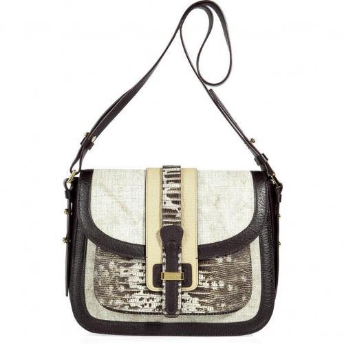 Michael Kors Ecru Canvas Saddle Bag with Leather Trim