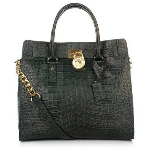 Michael Kors Hamilton LG Tote Croco Hunter Green