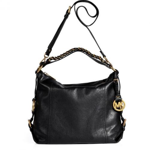 Michael Michael Kors Black Leather Tristan Shoulder Bag