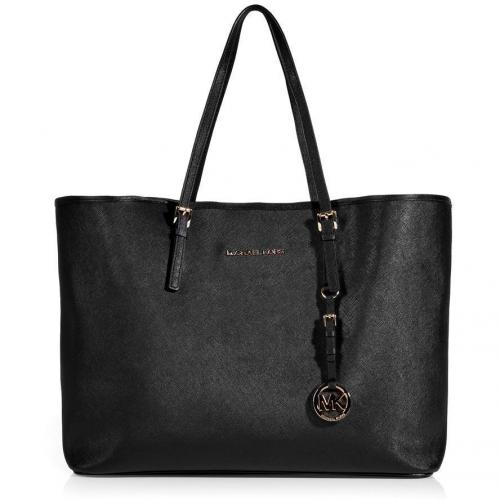 Michael Michael Kors Black Textured Leather Travel Tote